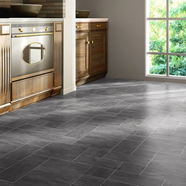 Faus floor night slate black 8mm tile effect laminate for Tile laminate flooring sale