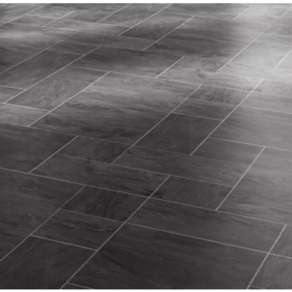 Faus Floor Night Slate Black 8mm Tile Effect Laminate