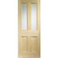 Xl Edwardian Vertical Grain Pine With Clear Bevelled Glass